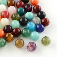 Coloful Round Imitation Gemstone Acrylic Beads Mixed Color Jewelry DIY Making