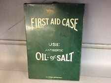 Vintage Metal First Aid Case Antiseptic Oil Of Salt Antique Cabinet Kit Green