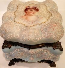 Antique Wavecrest Box Hand Painted Portrait Footed Rare! Pale Blue Beaded Large
