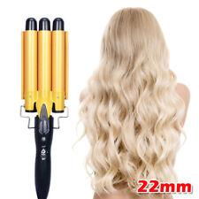 Triple 3 Barrel Ceramic Hair Curler Waver Salon Styler Deep Wave Curling Iron 9