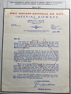 England Imperial Airways First Experimental Service To Australia Official Letter