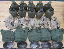 10 US MILITARY 1QT CANTEENS (5)OLIVE DRAB / (5)DESERT CAMO COVERS/ (5)CUPS~Used~