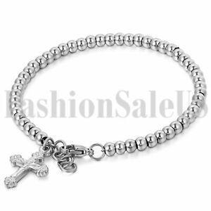Women's Silver Tone Stainless Steel Jesus Cross Dangle Beads Chain Bracelet
