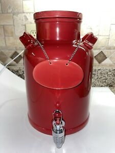 """American Atelier 1.5 Gal  Red Beverage Dispenser with Lid and Tag 12"""""""