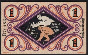 1918 1 Mark Germany Bielefeld Emergency WWI Money Banknote Currency Rare UNC