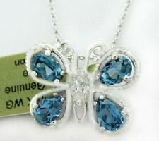 BLUE ZIRCON 3.32  Cts & WHITE SAPPHIRE BUTTERFLY PENDANT 10k  Gold  *FREE CHAIN