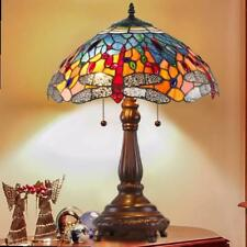 Tiffany Style Table Lamp Blue w/ Red Dragonfly Table Lamp 24in Tall