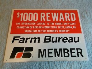 "$1000 Farm Bureau reward sign Metal Never used 12 x 18"" Rural Country"