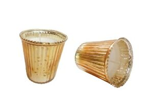New Ribbed Glass Material Gold Color Candle Holder Votive For Festivals Set Of 2