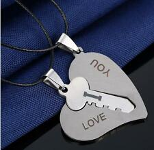 Couple Necklace Set Pendant Engraved I Love You Matching Hearts Key w/ BLK Rope