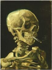 Skeleton with burning cigarette by Van Gogh Canvas Print Poster 16X22 Photo Art
