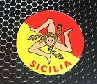"Sicilia Sicily Proud Flag Domed Decal car Emblem Flexible 3D 2.5"" Round crest"