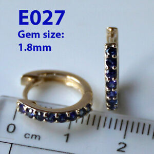 s E027 Genuine 9K Solid Yellow Gold NATURAL Blue Sapphire HUGGIE Earrings Hoops