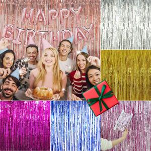 RoseGold Tinsel Shiny Fringe Curtain Wall Door Room Decor Birthday Wedding Party