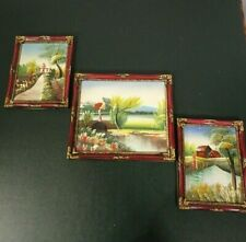 Set of 3 Tranquil Countryside Inspired Acrylic or Oil Paintings Hanging Wall Art