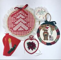 Vintage Cross Stitch Ornament Lot of 5 Christmas Tree Candle Bear Holiday