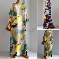 ZANZEA Womens Long Sleeve O Neck Casual Loose Kaftan Baggy Maxi Dress Plus Size