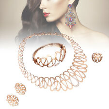 African Dubai Gold Plated Jewelry Sets Necklace Earring Wedding Women Crystal FZ
