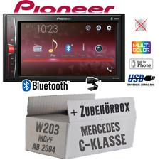 Radio Pioneer 2-DIN Bluetooth | MP3 | USB | Einbauset für Mercedes C W203 MoPf