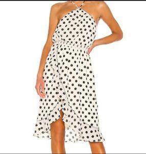 House of Harlow 1960 Revolve Polka Dot Midi Dress Ruffle Ivory Black Size XS NWT