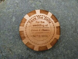 Casino Chip Save The Date wedding fridge magnets: Wooden Poker, personalised