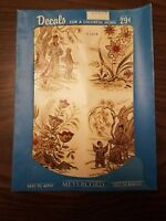 Vintage 1950's Meyercord Transfer Decals NOS - Gold Red Asian Scenes  X 529-B