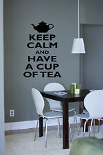 keep calm have a cup of tea Quote Wall Stickers Art kitchen Removable Decals DIY