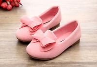 Kids Girls Bow-knot Slip On Casual Cute Coral Velvet Vamp Pumps Princess Shoes