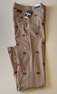 Ole Miss Brown Pennington & Bailes Embroidered Stadium Pants Sz 30 x 36 Unhemmed