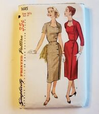 Simplicity 1950s Wiggle Wrap Dress Pattern Sweetheart Neckline Sd Button Sz 16.5