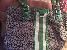 womans tLeather And Canvas Bag By Tommy Hillfiger