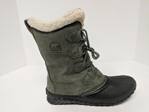 Sorel Winter Leather Boots, Dark Green, Womens 8 M