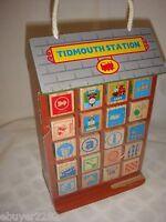 Thomas the Train Wooden Wood Blocks with Carrier - Tidmouth Station - Play