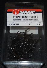 VMC 9650 Round Bend Treble Hooks Size 1 - Pack of 25 9650BN-01 Black Nickel