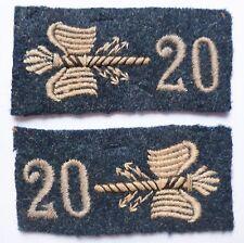 Pattes de Col 1914/1918 WWI Bleu Horizon ETAT MAJOR 20° ORIGINAL Uniforme patch