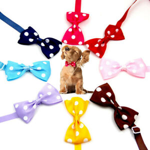 Pets Dog Cat Adjustable Bow Tie Collar Cute Dots Bowknot Necklace Neck Collar