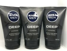 3 NIVEA MEN  DEEP CLEANSING BEARD & FACE WASH 3.3 FL OZ EA , Natural Charcoal