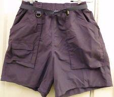 Lands End Nylon Shorts Purple Medium 10-12 Belted Mesh Lined Swimsuit Bathing M