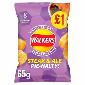 Walkers Steak and Ale Pienalty Flavour - Footy Favourites -15 x 65g - NEW