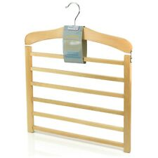 Hangerworld™ 6 Tier Wooden Trouser Bar Hanger Non Slip Space Saving Clothes