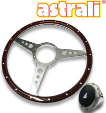 Triumph TR4/5/6 Astrali 14 inch wood and alloy Steering wheel with polished hub