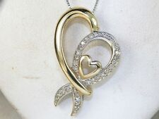 10k Yellow & White Gold Diamond-.14 tcw Heart Pendant Fashion Necklace-18""