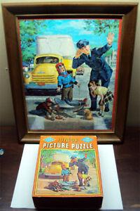 1950's Junior Built-Rite Jig Saw Puzzle Modern Traffic Problems Framed w/Box