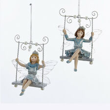 C9266 S/2 Platinum Teal Fairy Angel Girl Child On Bench Swing Christmas Ornament