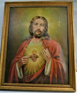 """Rare Vintage Jesus Sacred Heart 3D Picture 1952 Caracciolo Framed 12.5"""" x 16"""""""