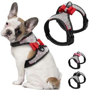 Rhinestone Harness for Small Dogs Reflective Harness Adjustable Bulldog puppy