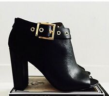 💖Mimco $249 New Black Insignia Bootie Leather Boots Flats Wedges Shoes 38 Or 7