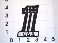 USA Number One  Biker Vest Motorcycle Patch B&W