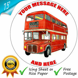 """ROUTEMASTER RED LONDON BUS 8"""" EDIBLE ROUND BIRTHDAY CAKE TOPPER DECORATION"""