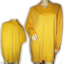 WOMAN WITHIN Womens Long Sleeve Polo T-Shirt Tee Top L Collar Yellow Tunic Tops